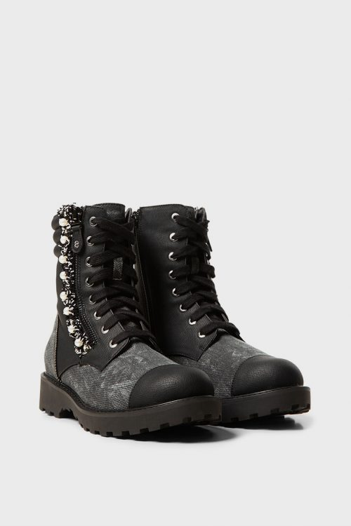 Military boots with pearls